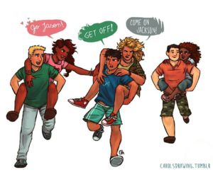percy jackson, the seven, and seaweed brain image