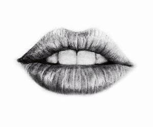 lips, drawing, and black and white image