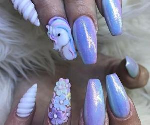 nails, unicorn, and purple image
