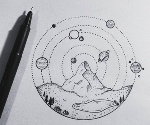 drawing, mountain, and space image