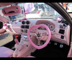 pink, car, and hello kitty image