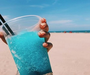 beach, drink, and blue image