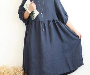 blue dress, etsy, and linen dress image
