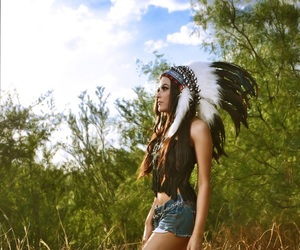 girl, nature, and nativeamerican image