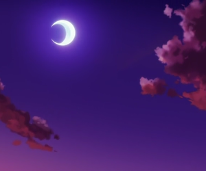 anime, crescent, and pink image