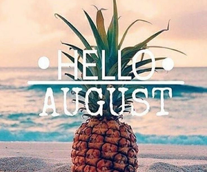 August, summer, and pineapple image