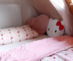 hello kitty, pillow, and pink image