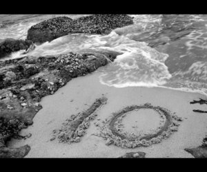 10, waves, and black and white image