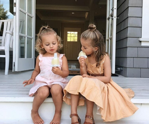 kids, girls, and ice cream image