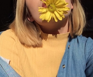 aesthetic, girl, and flower image