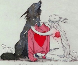 love, wolf, and heart image