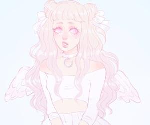 angel, long hair, and pink image