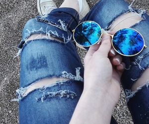 converse, rippedjeans, and sunglasses image