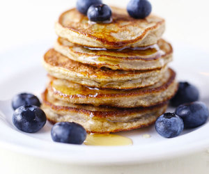 baking, blueberry pancakes, and breakfast image