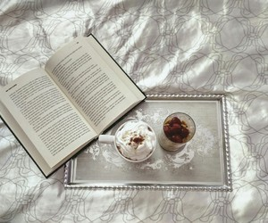 bed, book, and breakfast image