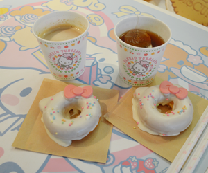 hello kitty, cute, and donuts image