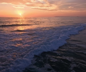 california, ocean, and sunset image