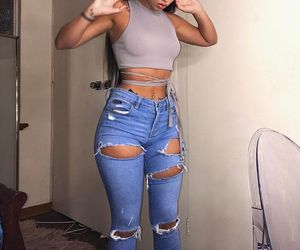 outfit and ripped jeans image