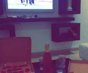 beer, lifestyle, and pizza image