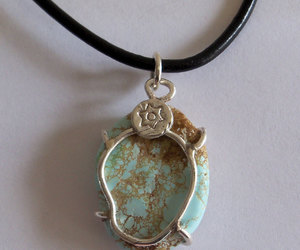 etsy, silver pendant, and turquoise pendant image