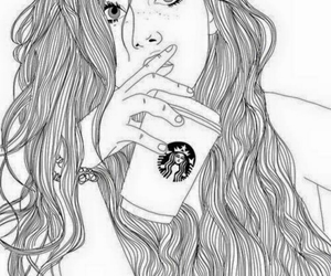 starbucks, outline, and drawing image