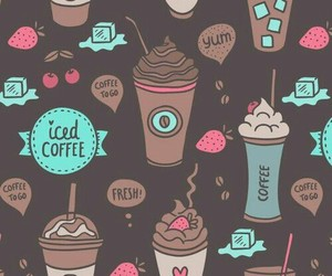 coffee, strawberry, and wallpaper image
