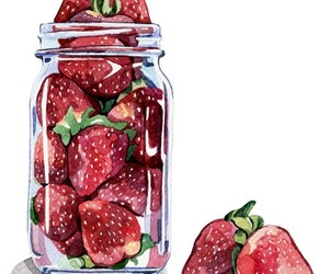 art, drawing, and strawberry image