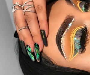 makeup, beauty, and green image