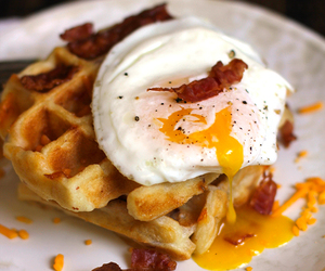 bacon, breakfast, and waffles image