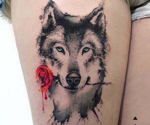 art, lobo, and tatto image