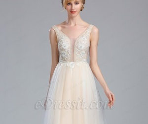sleeveless, bridal dress, and wedding gown image