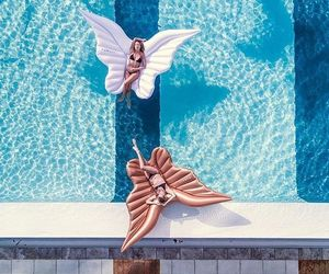 summer, pool, and butterfly image