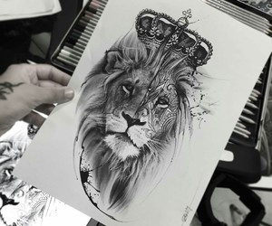 art, black&white, and king image