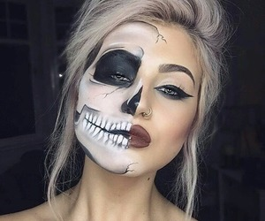 girl, makeup, and halloween makeup image