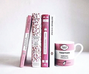 book, pink, and reading image