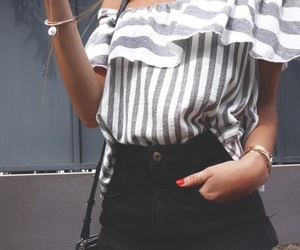 black, shorts, and outfit image