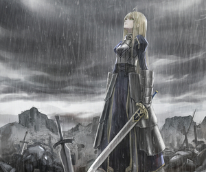 anime, rain, and saber image