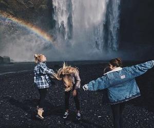 friends, rainbow, and waterfall image