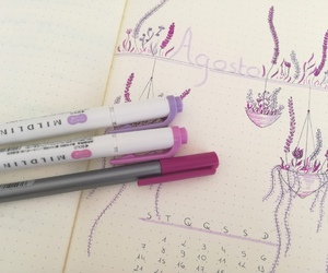 August, flowers, and planner image