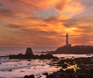 beach, beautiful, and lighthouse image