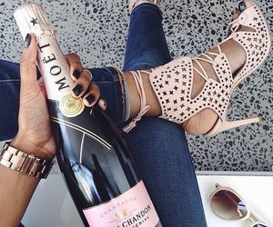 shoes, moet, and chandon rose image