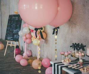 party, balloons, and pink image