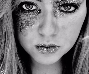 blackandwhite, glitter, and makeup image