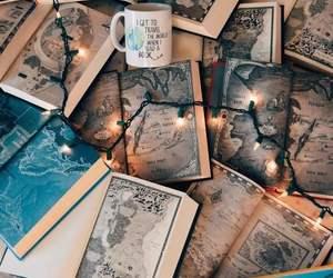 book, lights, and map image