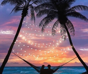 sunset, couple, and beach image