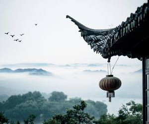 calm, chinese lantern, and mist image