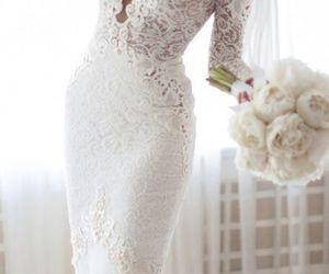 lace, wedding dress, and white image