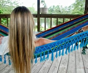 beach, bohemian, and hammock image