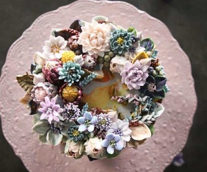 cakes, flowers, and food image