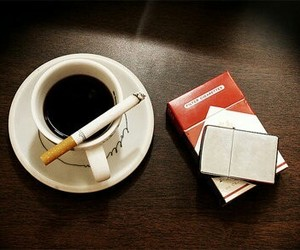 cigarette, coffee, and smoke image